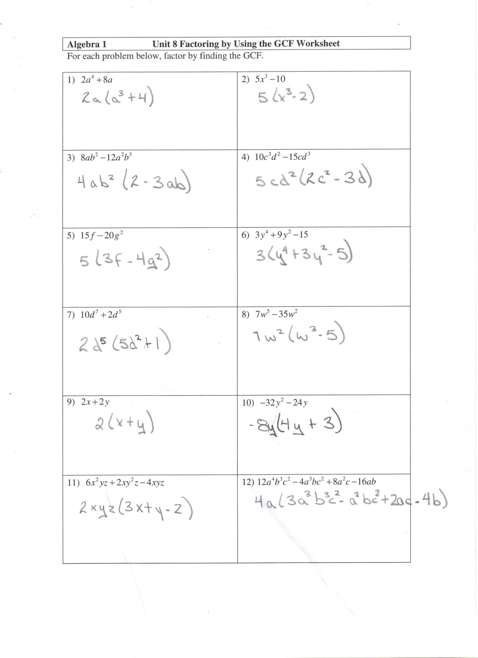 Factoring Trinomials Worksheet Answers Factoring Gcf Worksheet and Answers Math 10