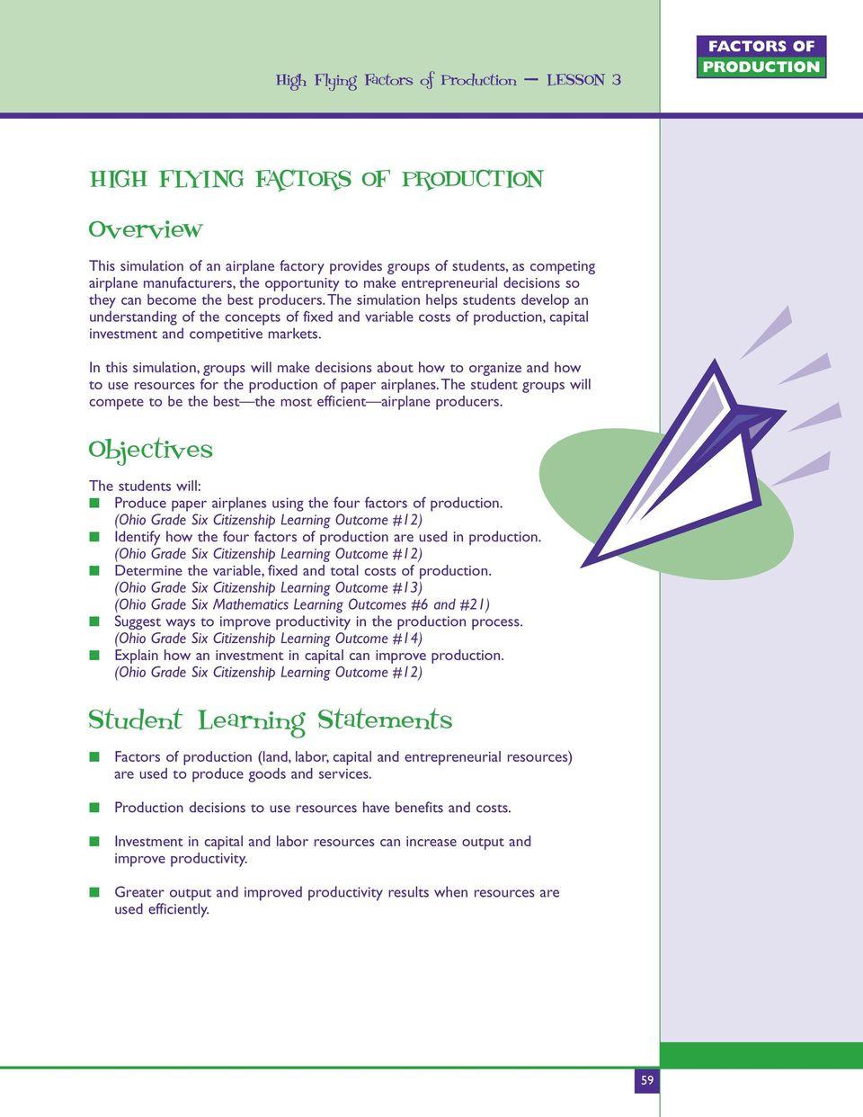 Factors Of Production Worksheet High Flying Factors Of Production Lesson 3 High Flying