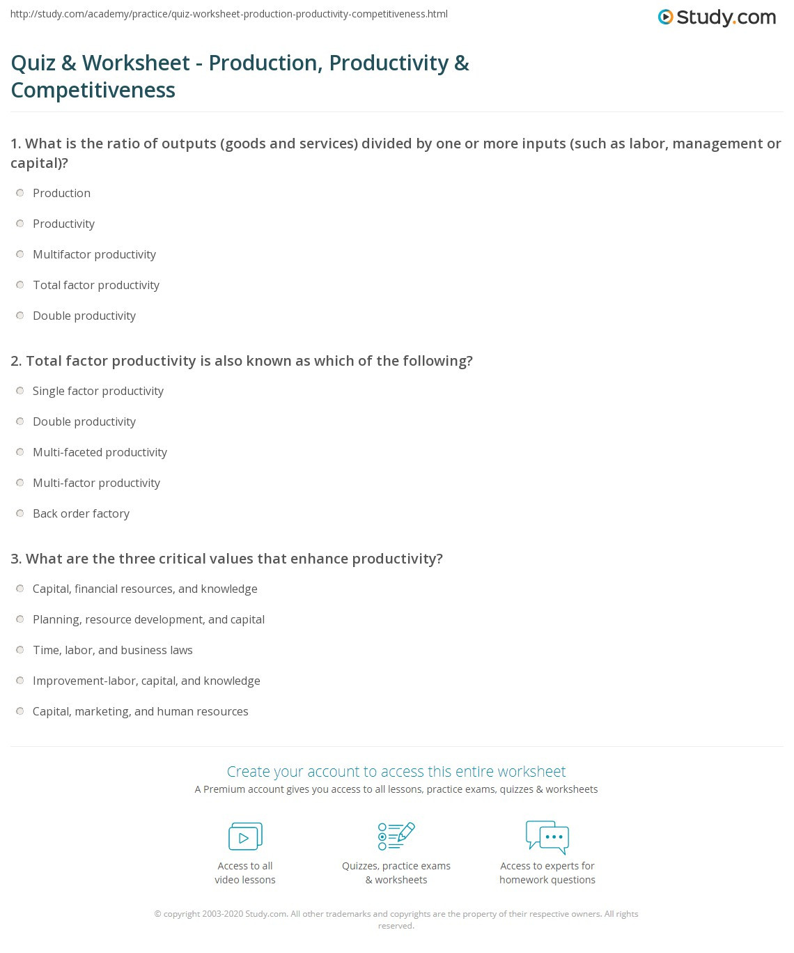 Factors Of Production Worksheet Quiz & Worksheet Production Productivity