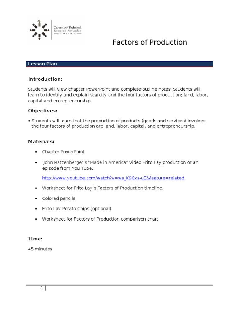 Factors Of Production Worksheet Unit 2 Lesson 3 Factors Of Production Frito Lay