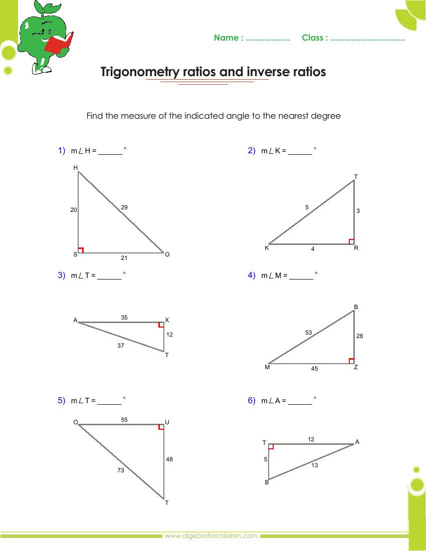 Finding Missing Angles Worksheet Basics Trigonometry Problems and Answers Pdf for Grade 10