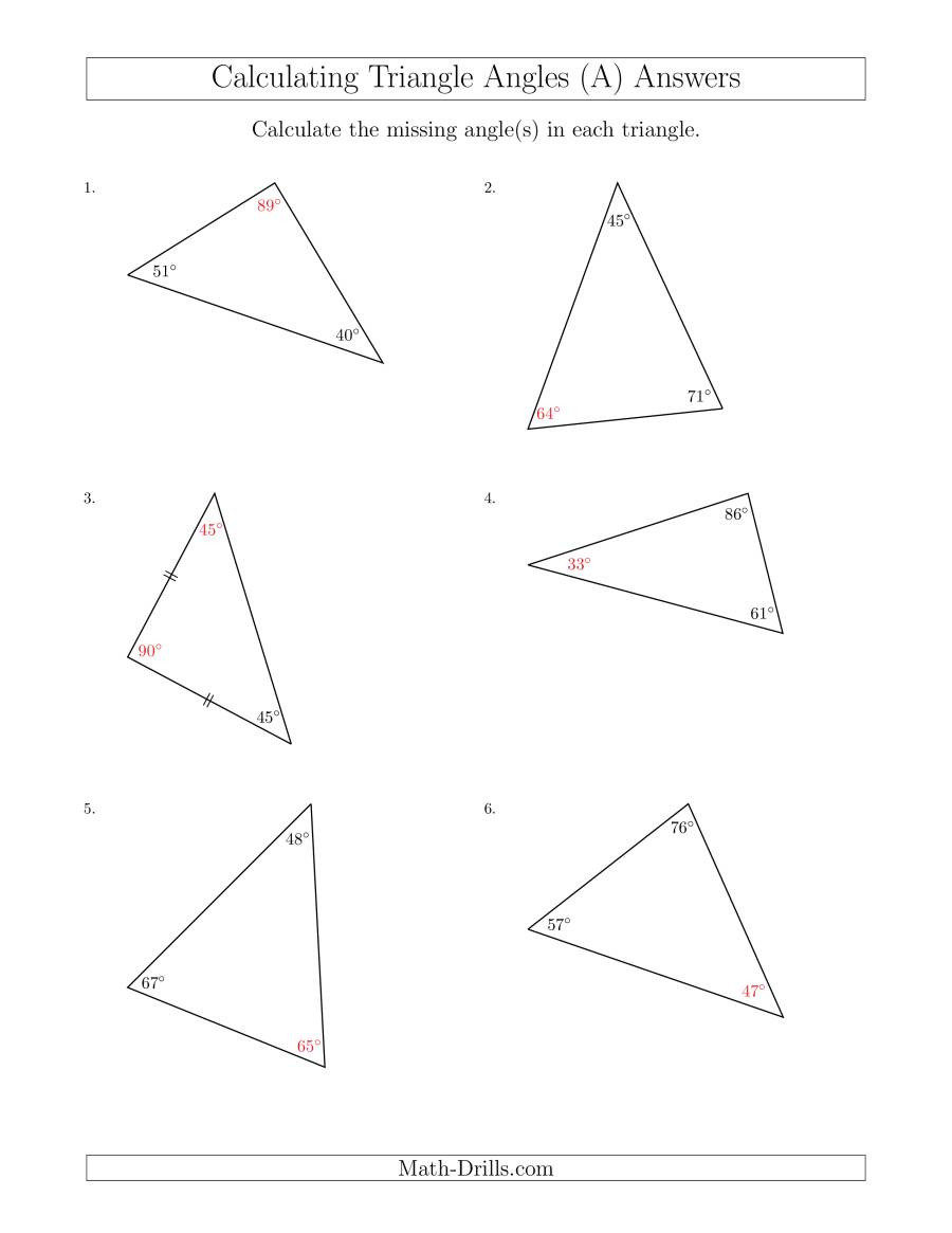 Finding Missing Angles Worksheet Calculating Angles Of A Triangle Given the Other Angle S A