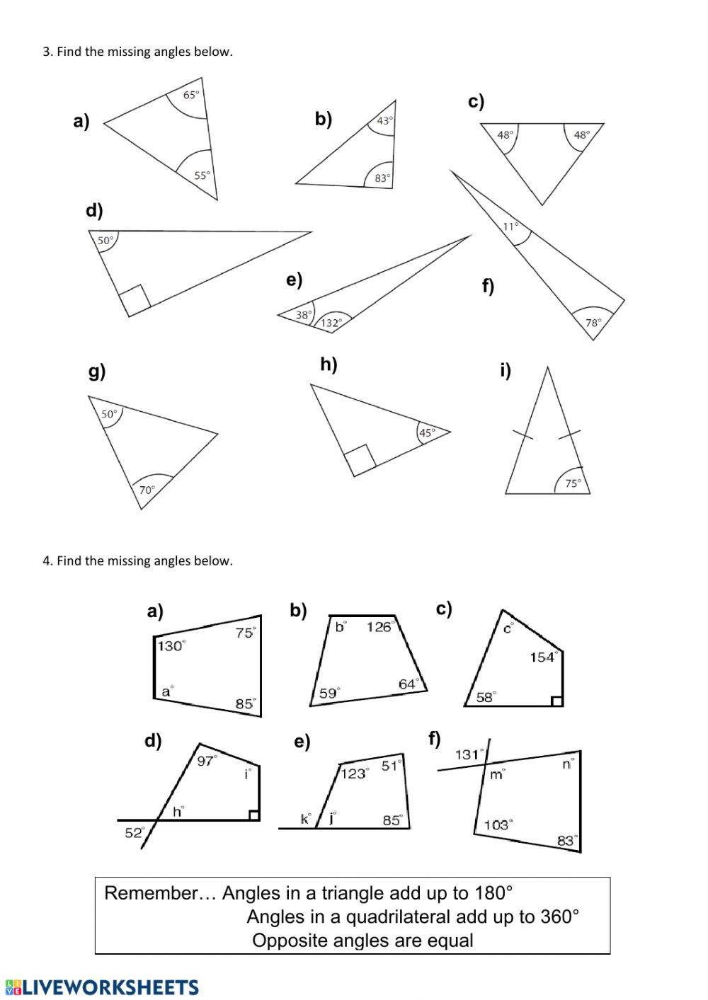 Finding Missing Angles Worksheet Finding Missing Angles Interactive Worksheet