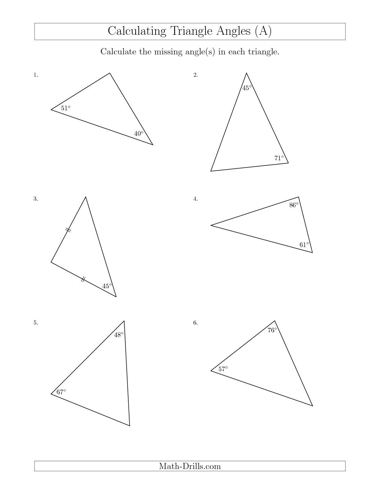Finding Missing Angles Worksheet New Calculating Angles Of A Triangle Given the Other Angle