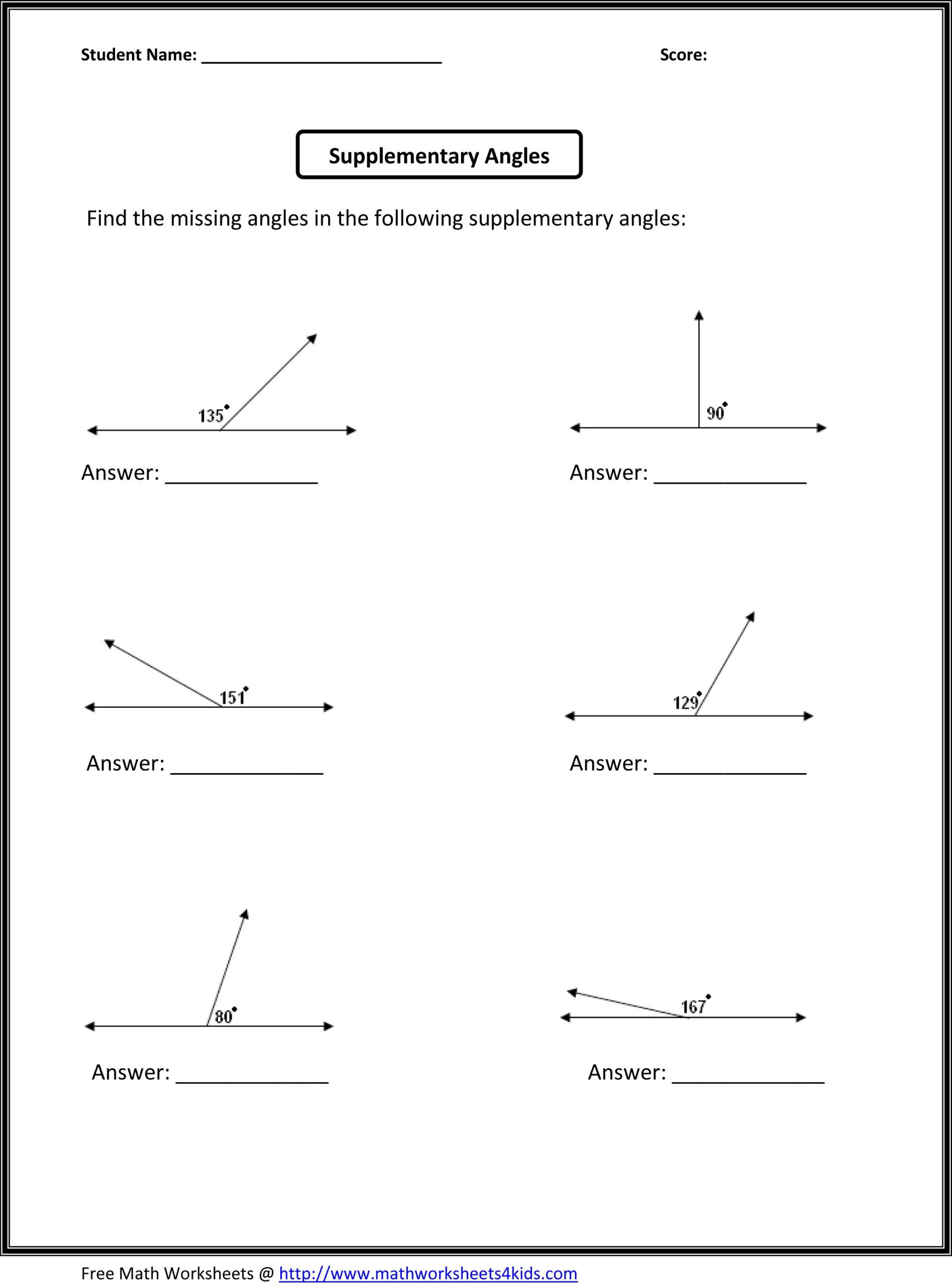 Finding Missing Angles Worksheet Supplementary Angles Math Worksheets Free for Six Graders