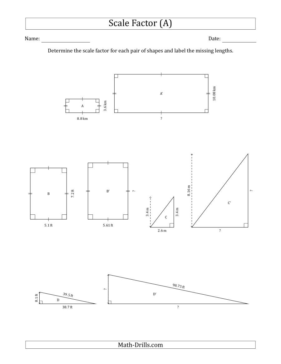 Finding Scale Factor Worksheet Determine the Scale Factor Between Two Shapes and Determine