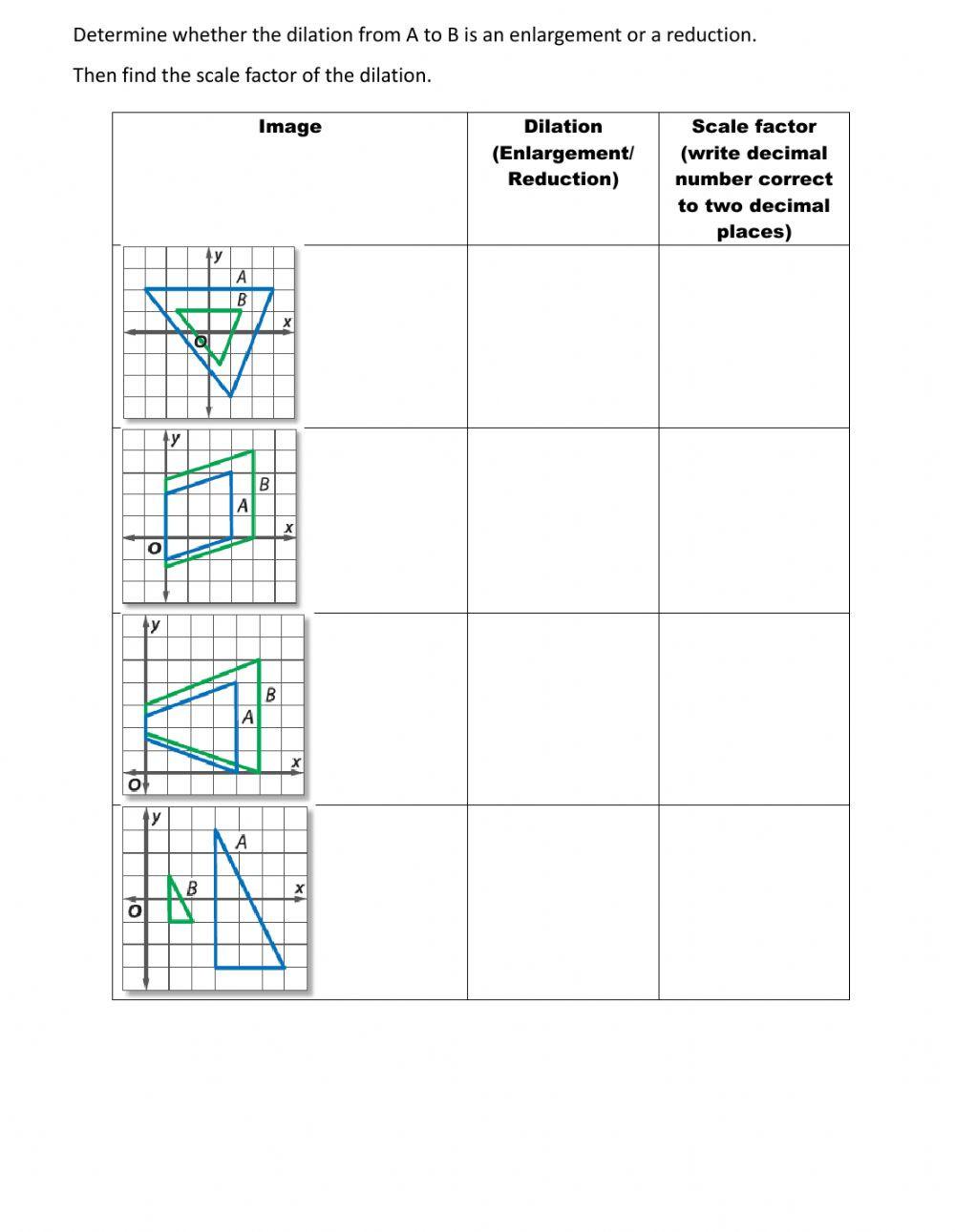 Finding Scale Factor Worksheet Similarity Transformation Interactive Worksheet