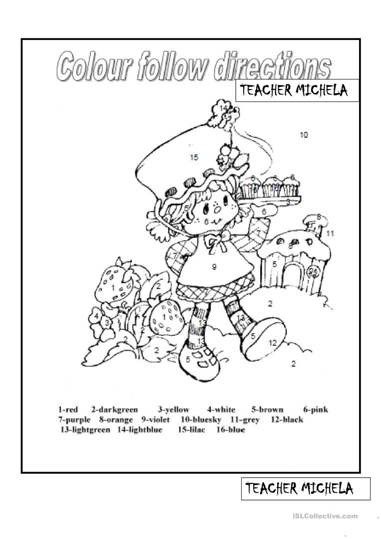 Following Directions Worksheet Kindergarten Colour Following Directions Strawberry Shortcake English