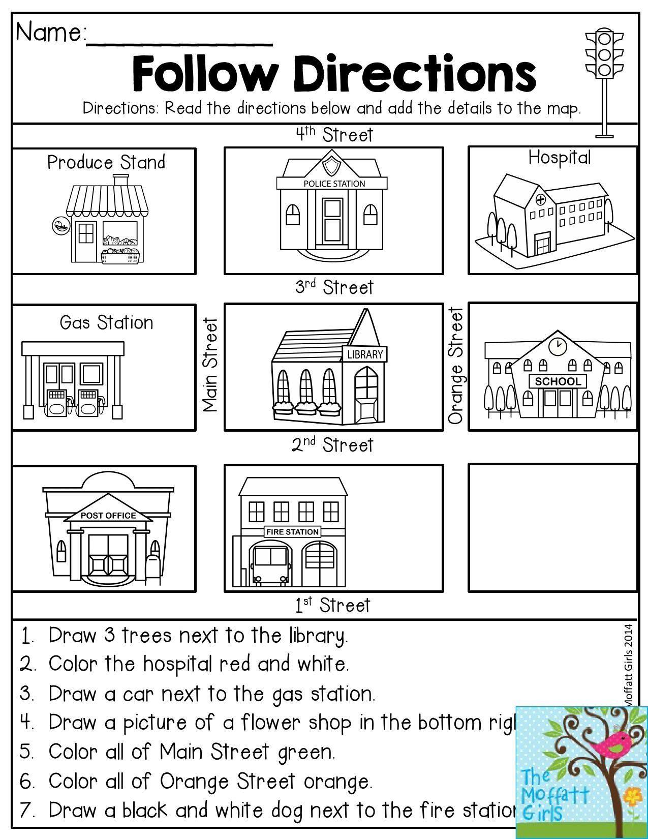 Following Directions Worksheet Kindergarten Follow Directions Read the Directions and Add the Details