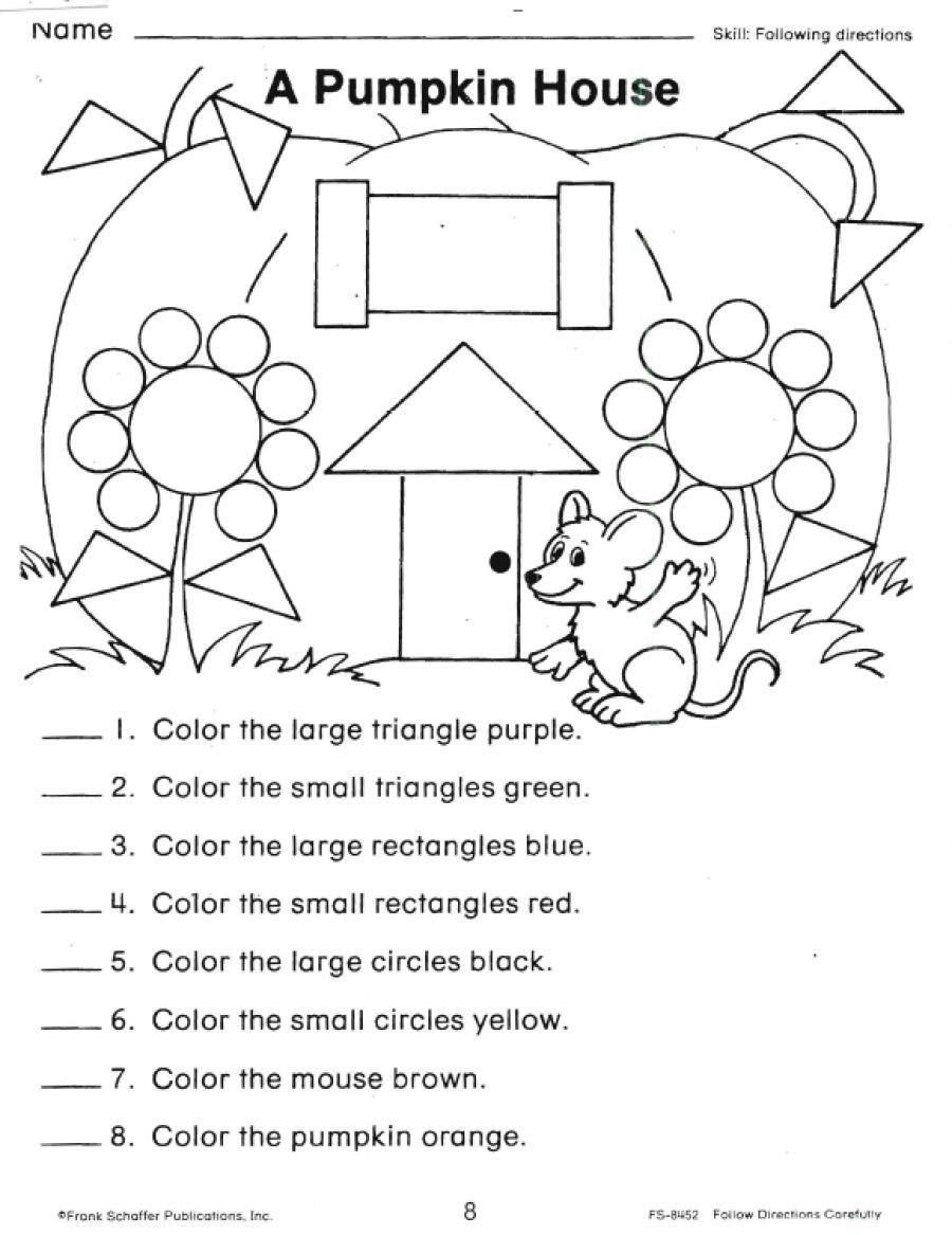 Following Directions Worksheet Kindergarten Following Directions Worksheets Shapes