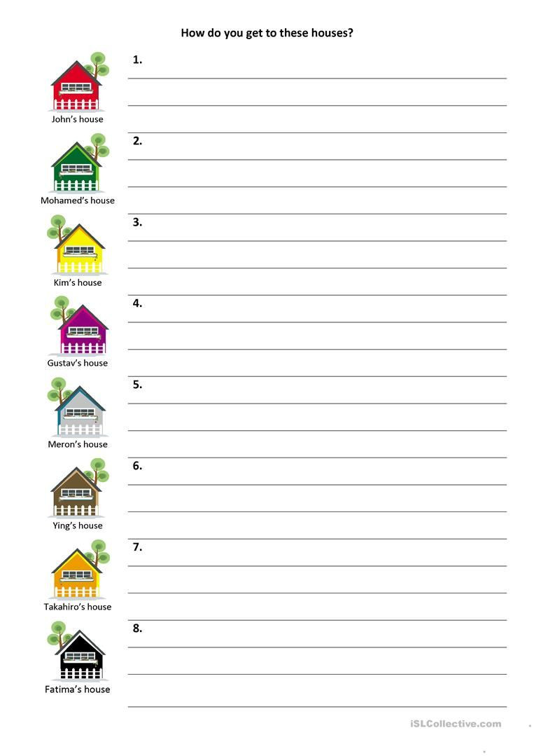 Following Directions Worksheet Kindergarten Give and Follow Directions On A Map Worksheet Free Esl