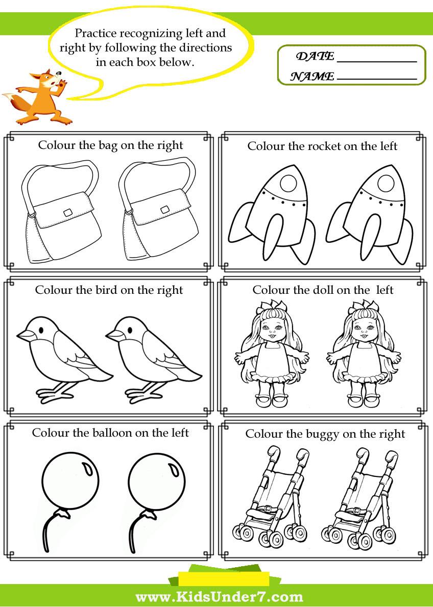 Following Directions Worksheet Kindergarten Kids Under 7 Left and Right Worksheets