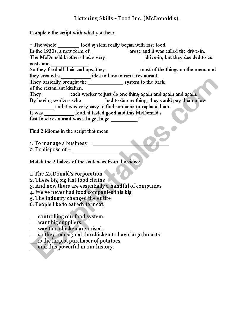 Food Inc Movie Worksheet Answers Food Inc Documentary Segment Mcdonald´s Esl Worksheet by