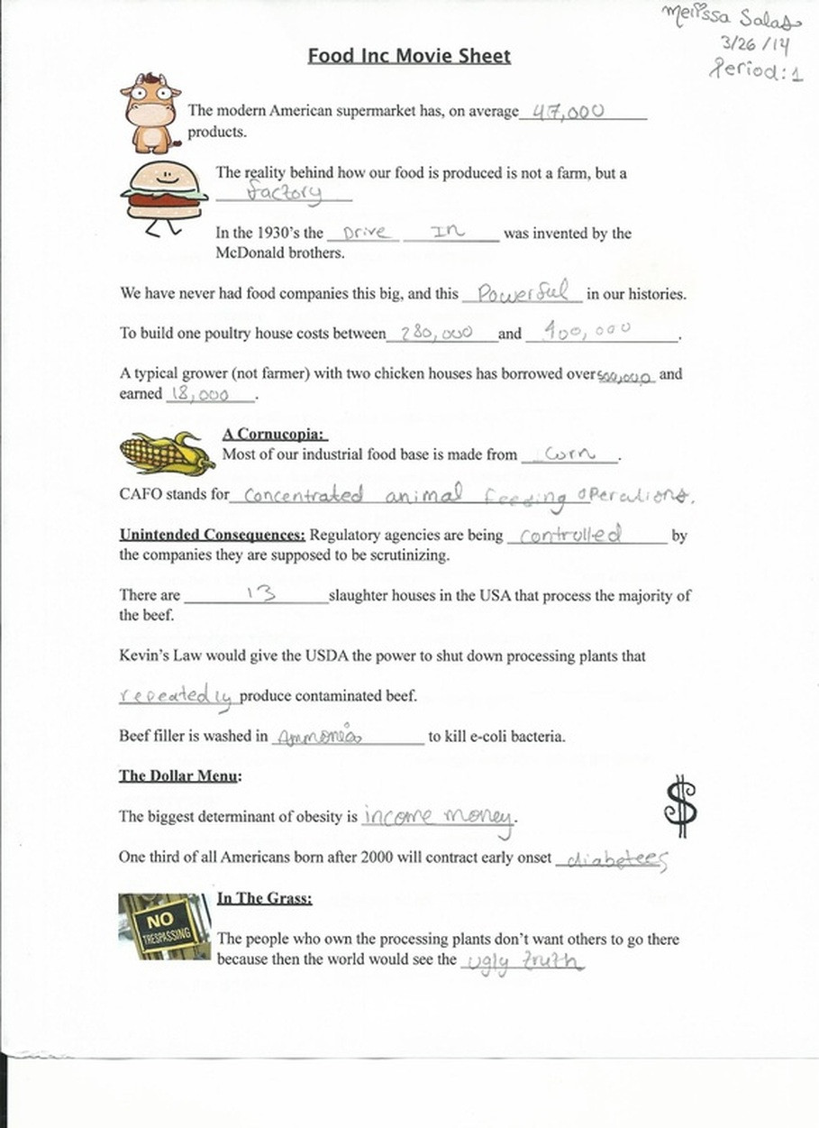 food inc video notes melissa salas