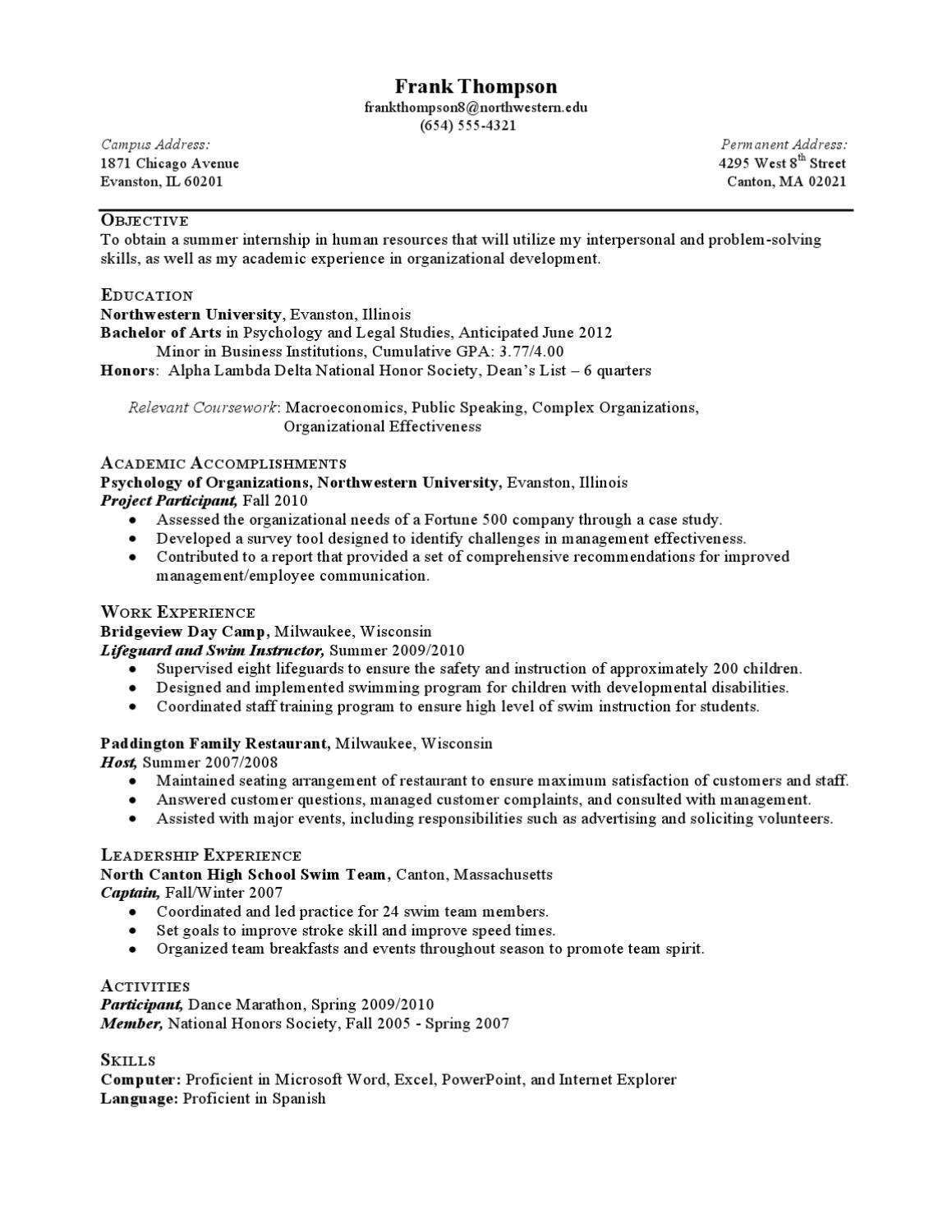 Food Inc Movie Worksheet Answers Internship Resume Sample Less Experienced by northwestern