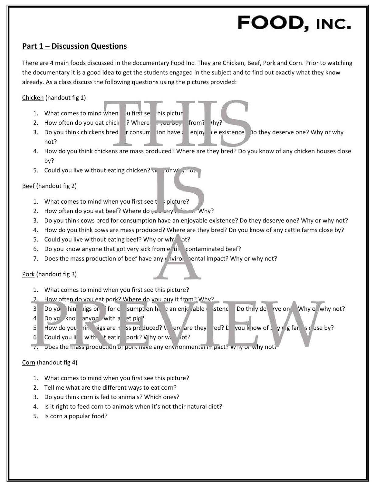 Food Inc Movie Worksheet Answers Movie Guides and Prehension Questions Food Inc