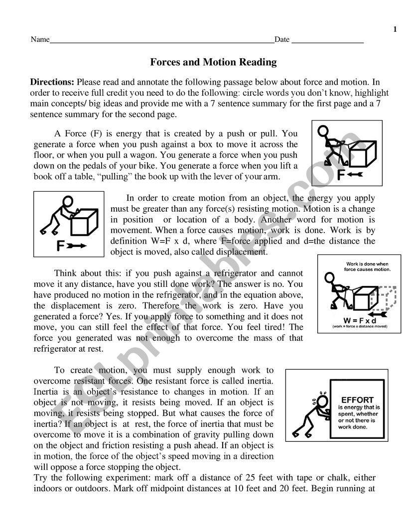 Forces and Motion Worksheet force and Motion Esl Worksheet by Tesm