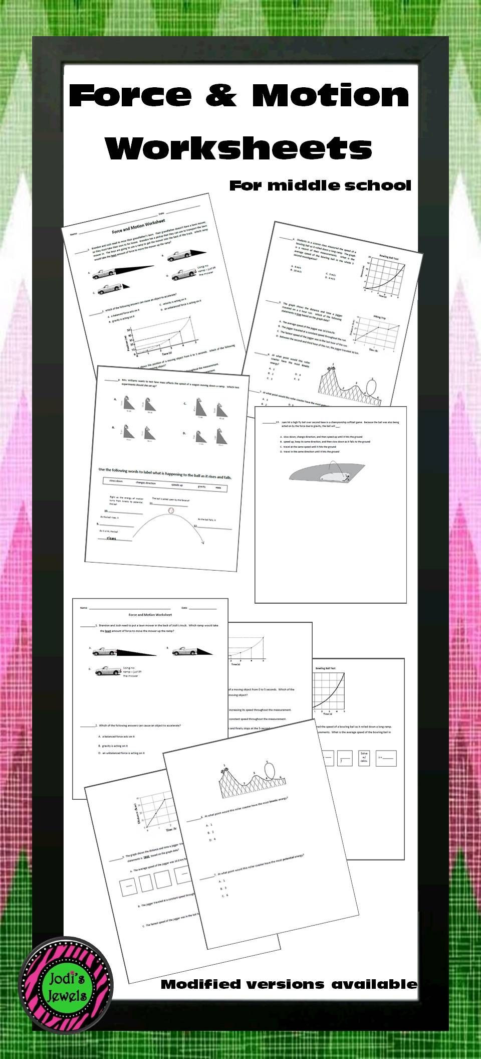 Forces and Motion Worksheet force and Motion Worksheet