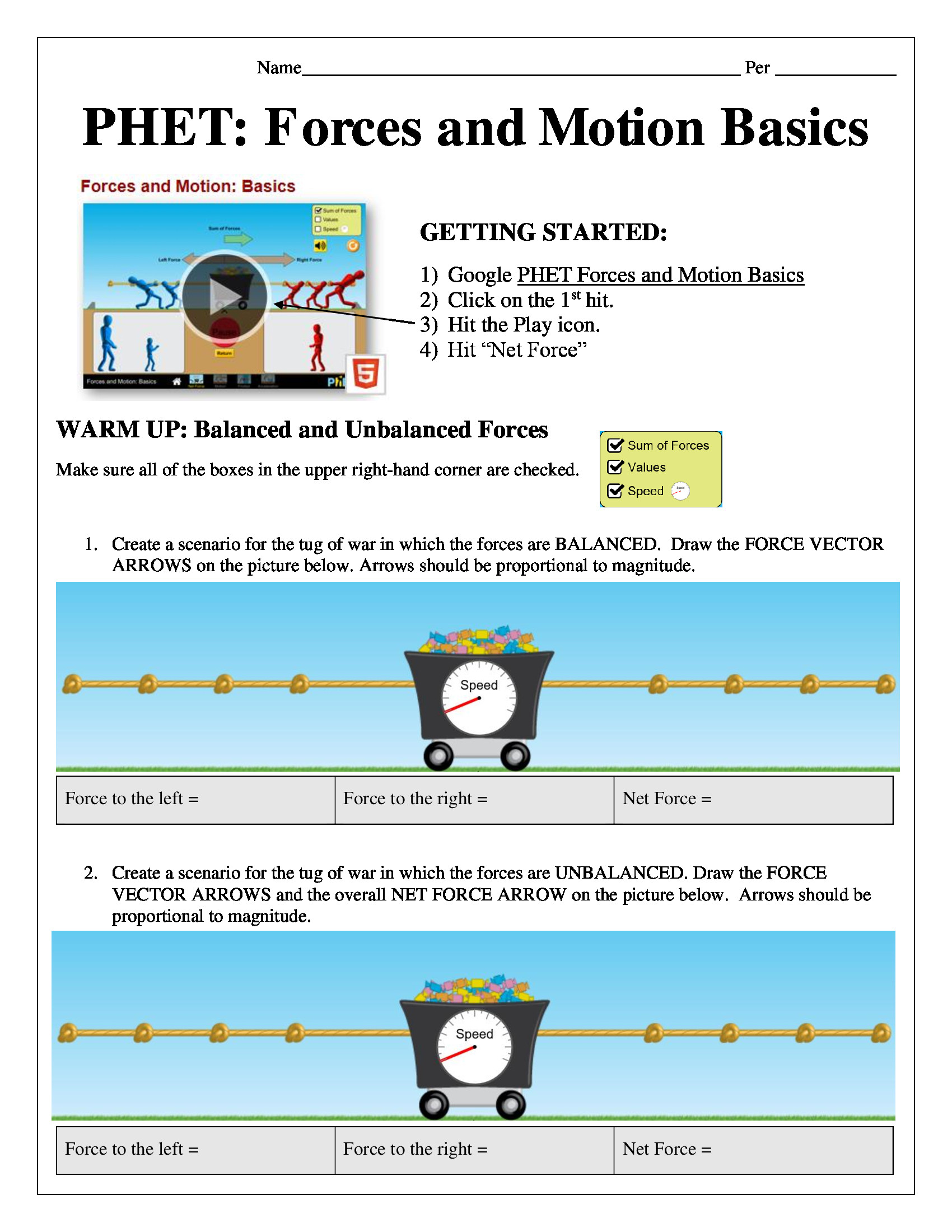 Forces and Motion Worksheet Phet forces and Motion Basics Puter Lab