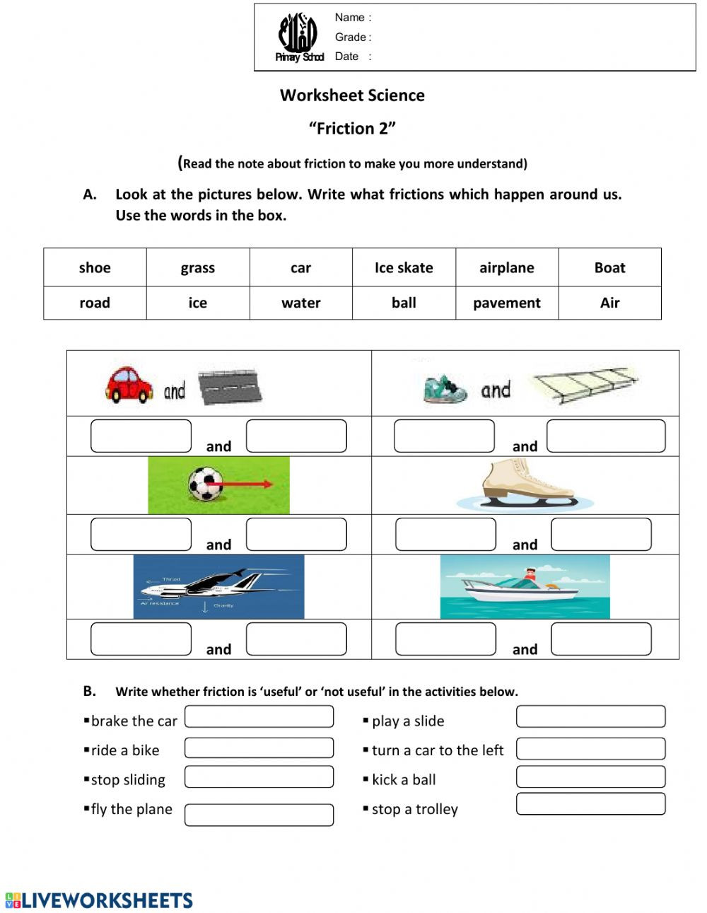 Forces and Motion Worksheet Worksheet Friction2 Interactive Worksheet