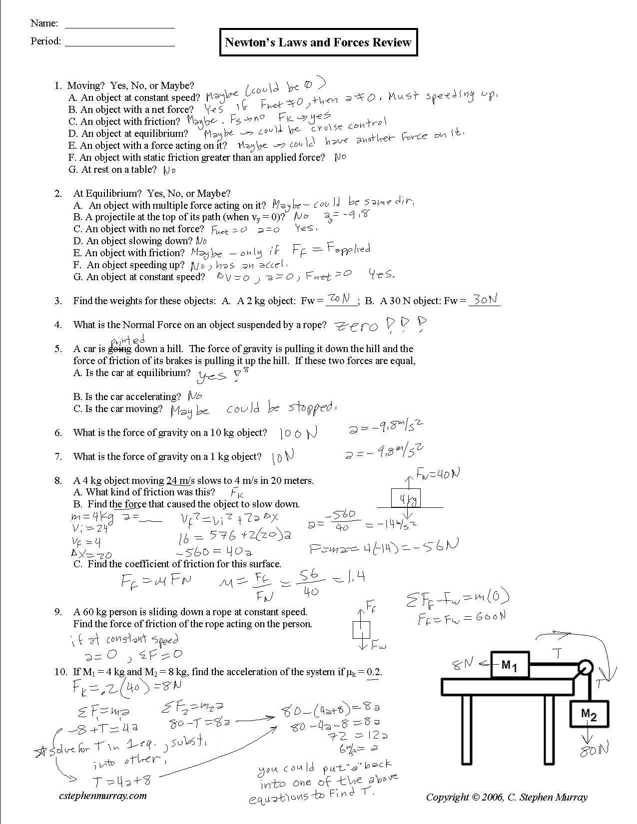 Forces Worksheet 1 Answer Key Mr Murray S Website Two Dim Motion
