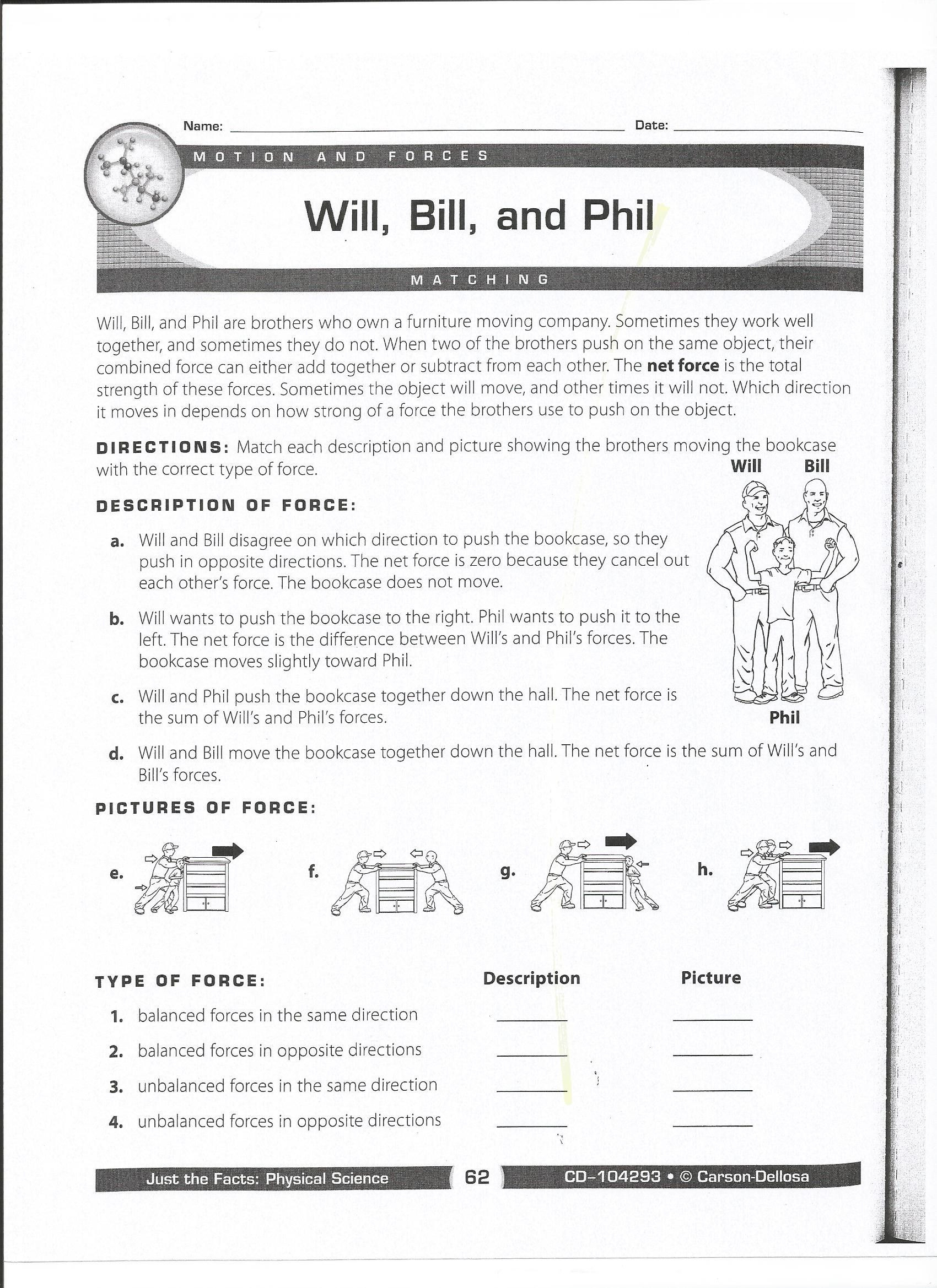 Forces Worksheet 1 Answer Key Qualified force and Motion Worksheets