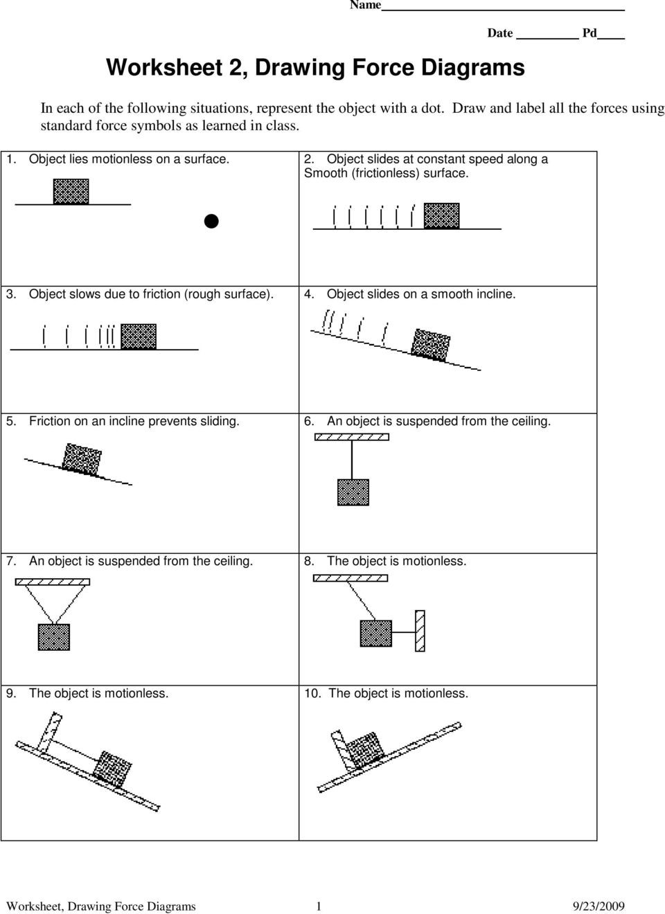 Forces Worksheet 1 Answer Key Worksheet 1 Free Body or force Diagrams Pdf Free Download