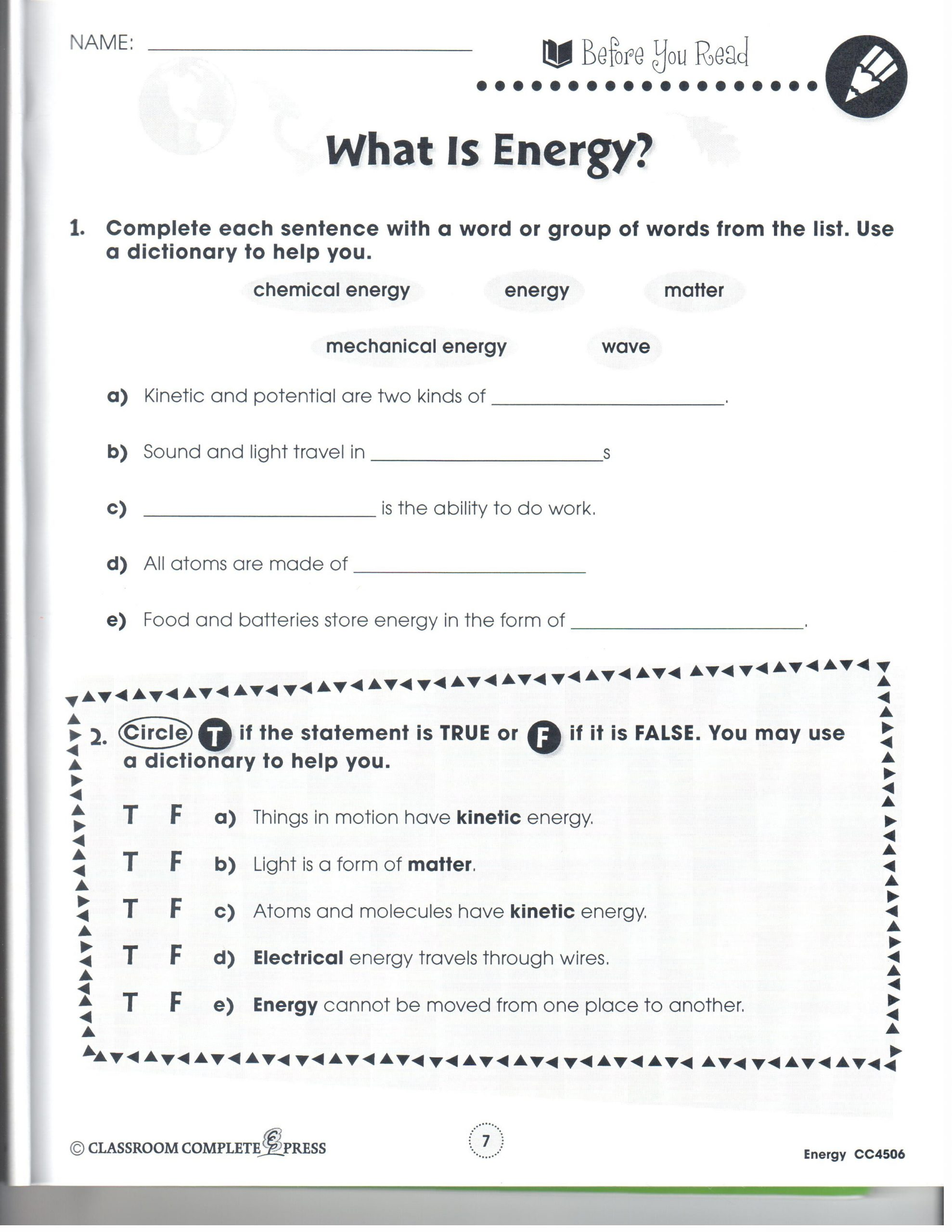 Forms Of Energy Worksheet Answers Energy and Energy Conversions Lessons Tes Teach