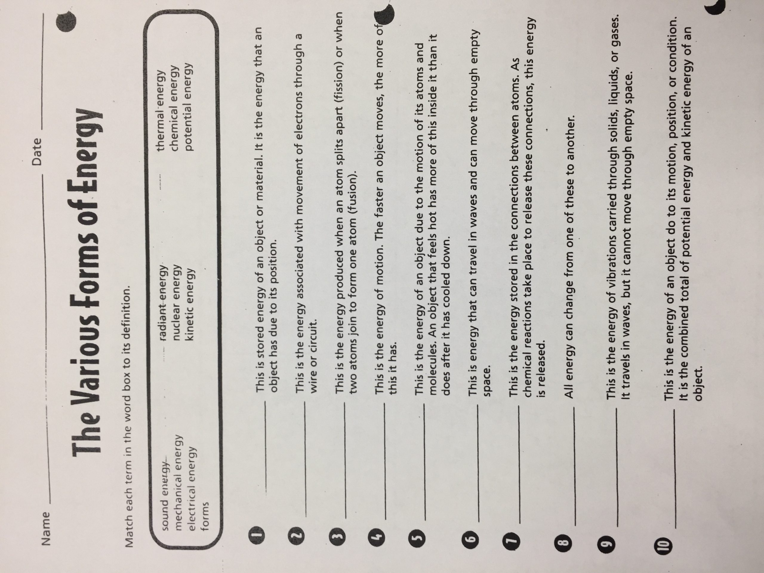 Forms Of Energy Worksheet Answers Michelle Hufstetler Bainbridge Middle School
