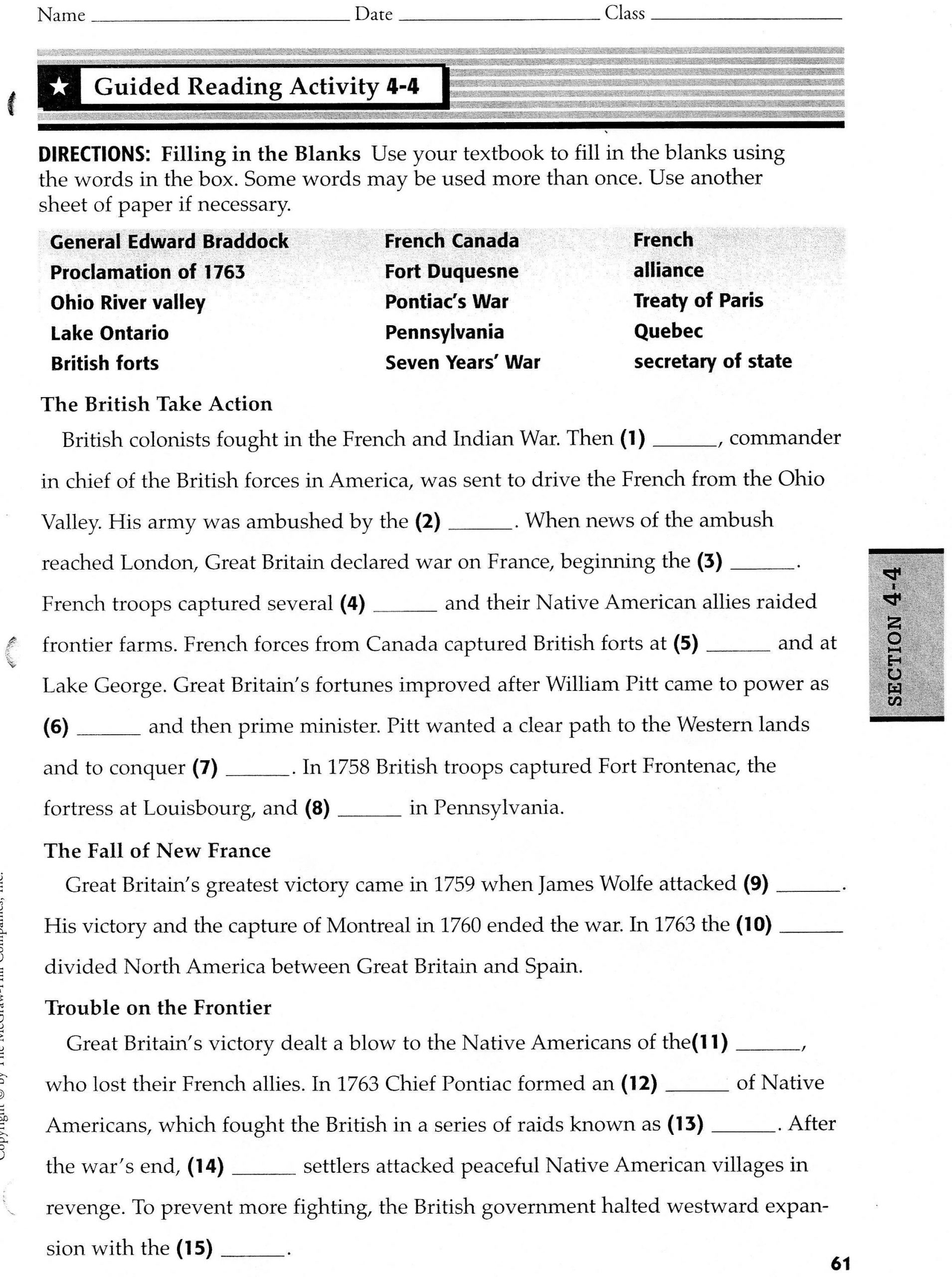 French and Indian War Worksheet Chapter4 D52mkins