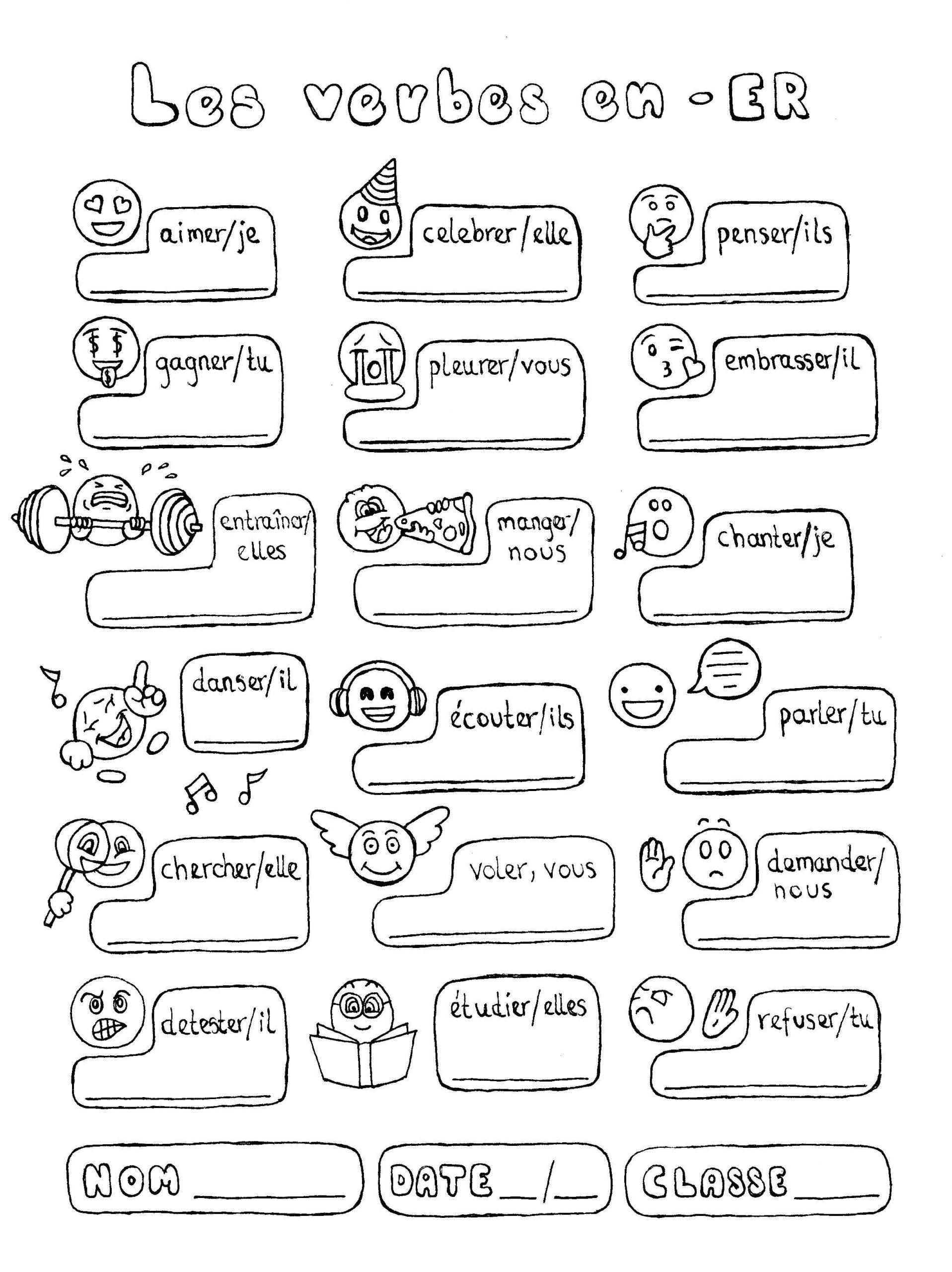 French Worksheet for Kids French Er Verbs Conjugation Fun No Prep Worksheet Emojis
