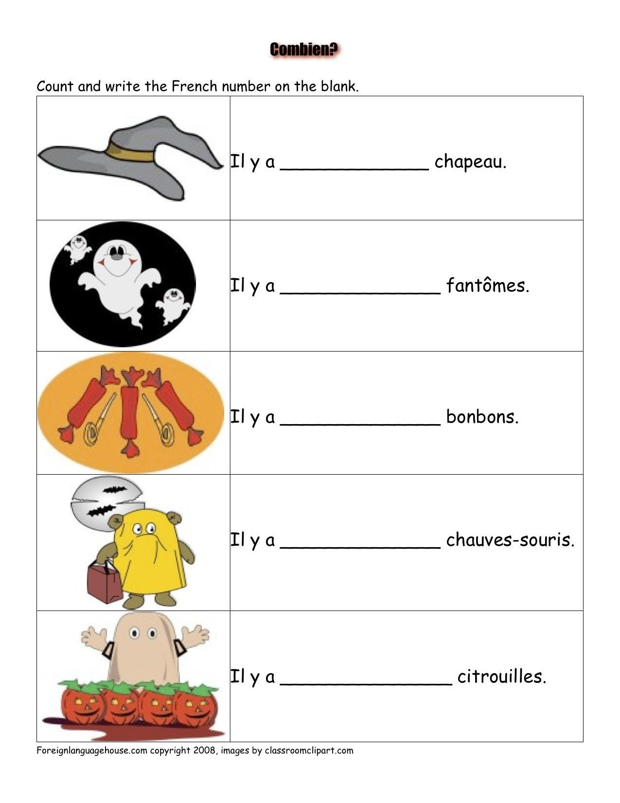 French Worksheet for Kids French Worksheets Halloween