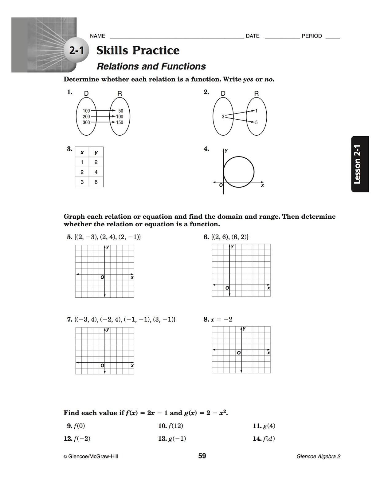 Functions and Relations Worksheet Algebra 2 Inverse Worksheet