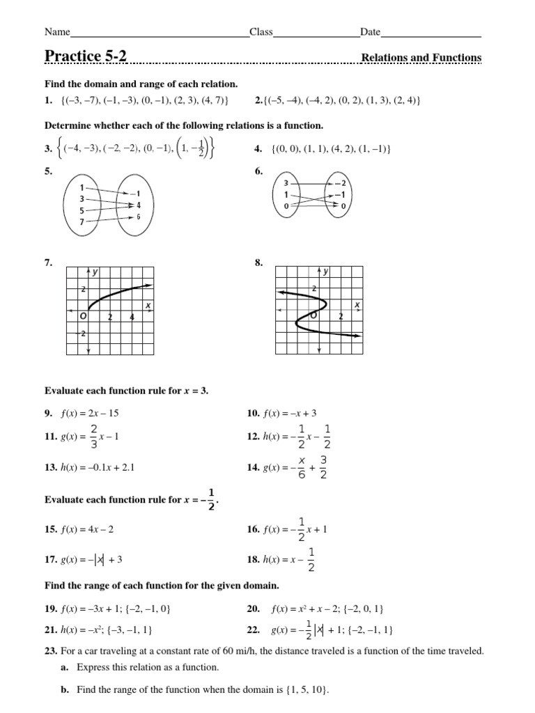 Functions and Relations Worksheet Day 10 Relations and Functions Homework Worksheet