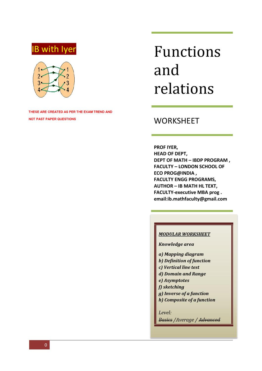 Functions and Relations Worksheet Functions and Relations Modular Ws by Prof Sriraman Iyer issuu