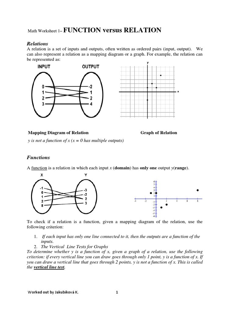 Functions and Relations Worksheet Relation and Functions Function Mathematics