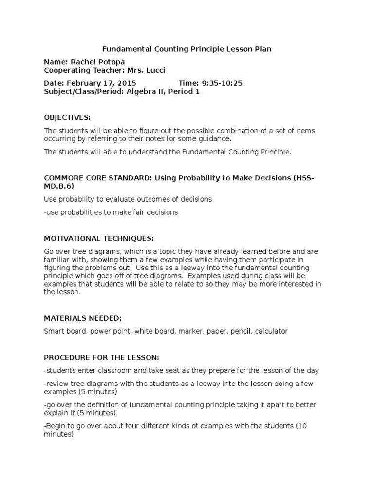 Fundamental Counting Principle Worksheet Fundamental Counting Principle Lesson Plan