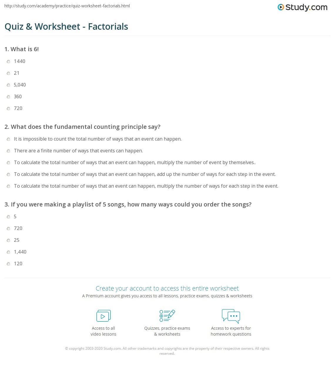 Fundamental Counting Principle Worksheet Quiz & Worksheet Factorials