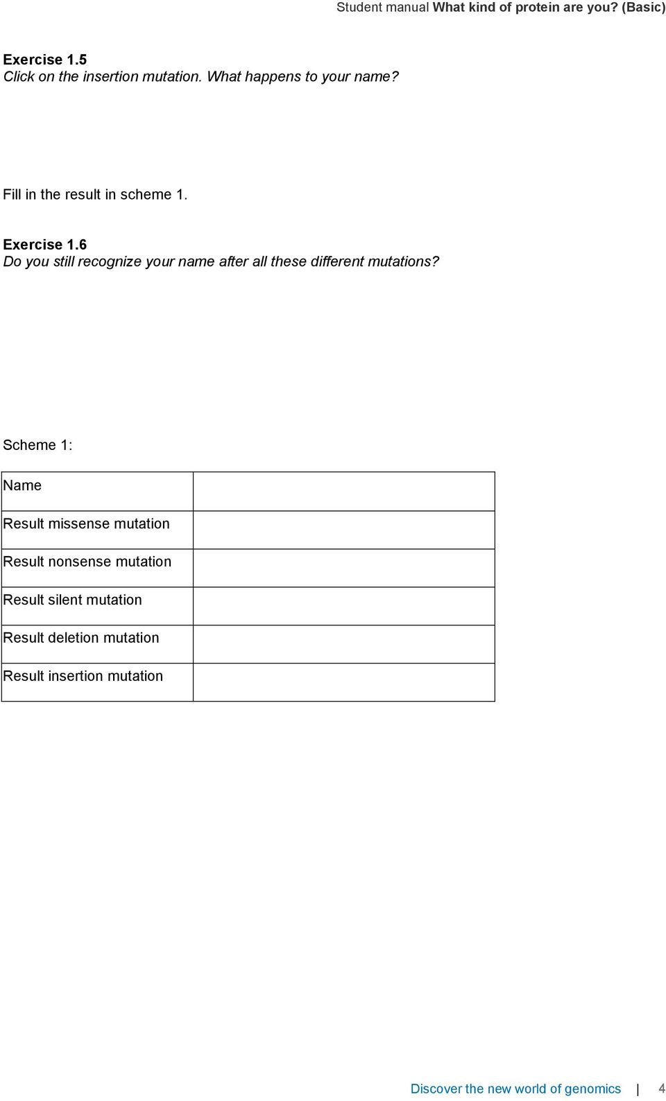 Gene and Chromosome Mutation Worksheet Concluding Lesson Student Manual What Kind Of Protein are