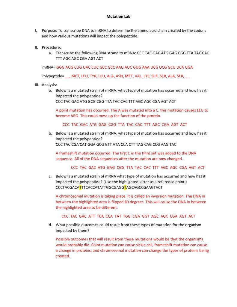 Genetic Mutation Worksheet Answer Key Dna Mutation Practice Worksheet Answers Worksheet List