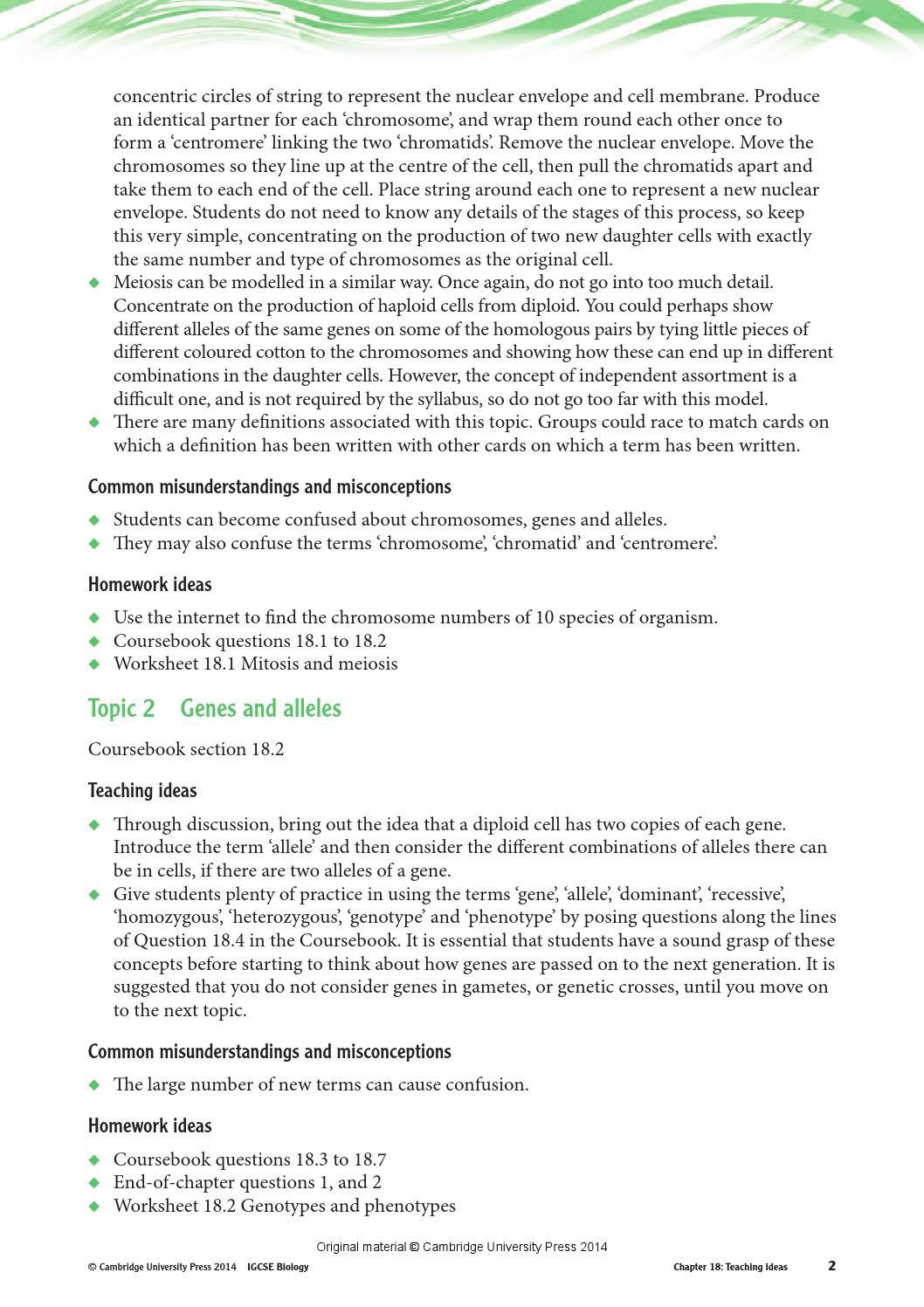 Genotypes and Phenotypes Worksheet Cambridge Igcse Biology Teacher S Resource Third Edition