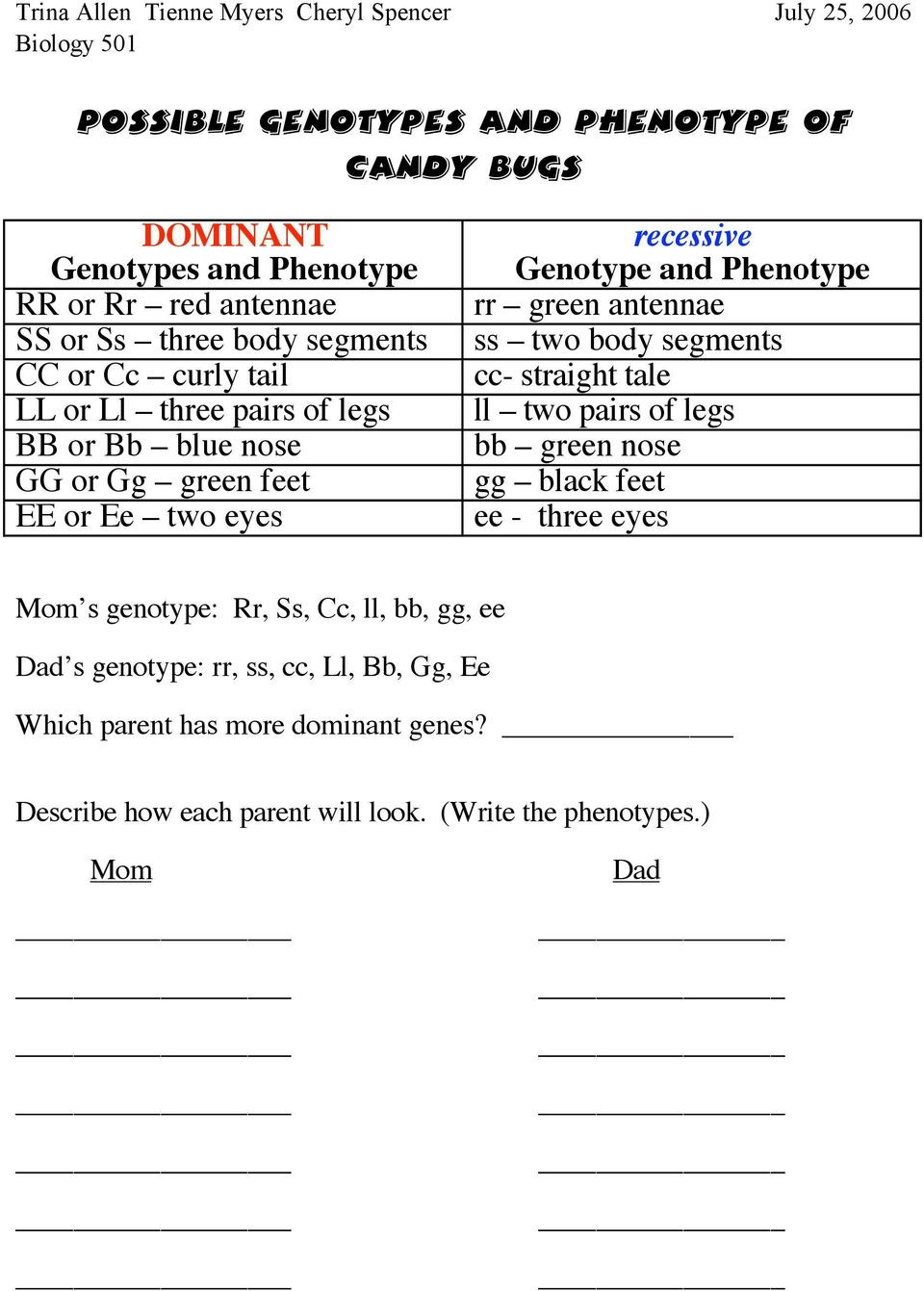 Genotypes and Phenotypes Worksheet Lesson Plan Genotype and Phenotype Pdf Free Download