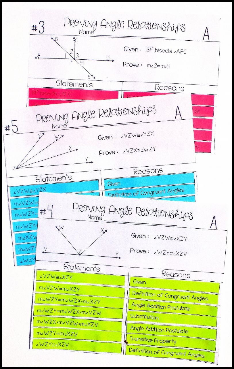 Geometric Proofs Worksheet with Answers Angle Relationships Proof Activity High School Geometry