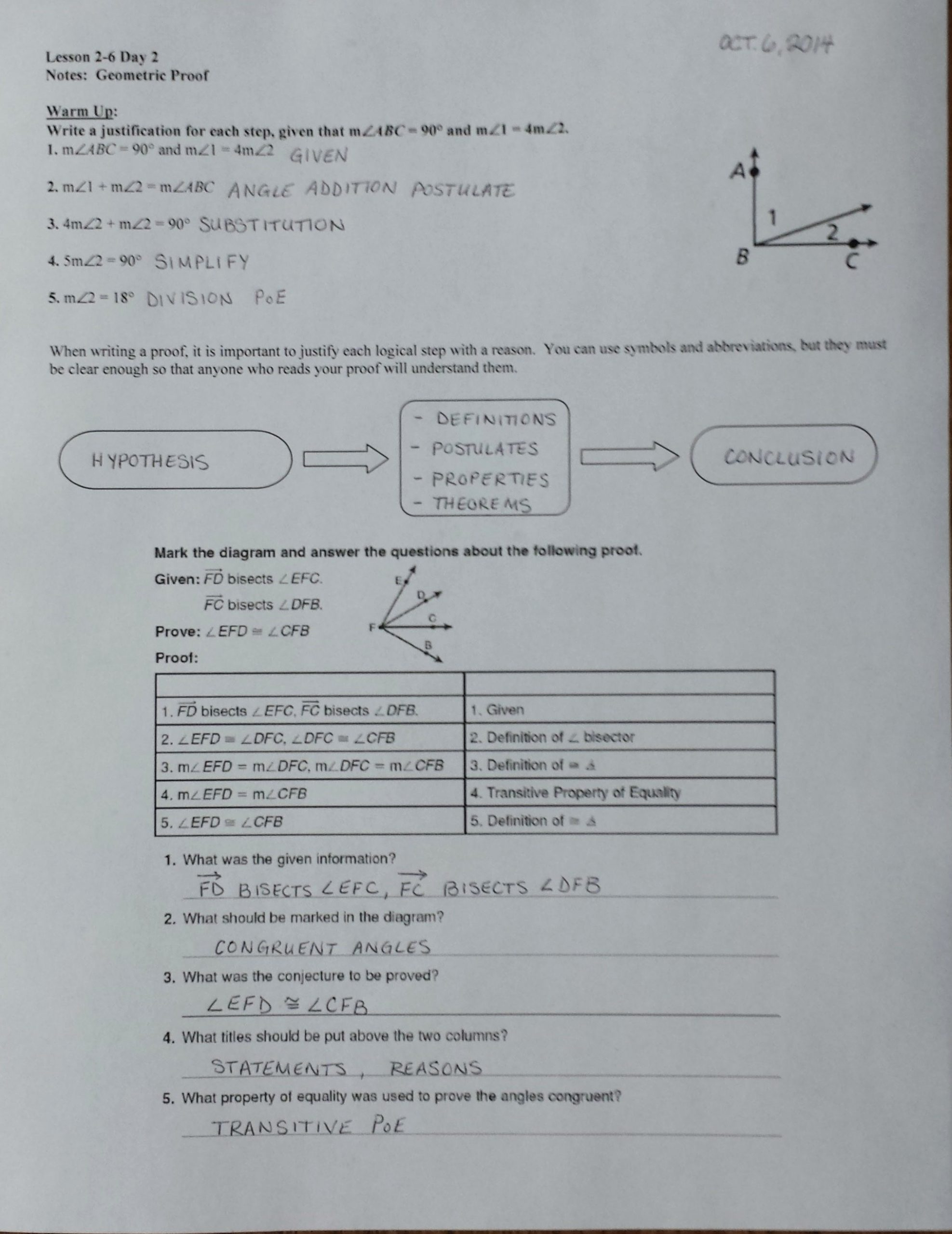 Geometric Proofs Worksheet with Answers Beginning Geometry Worksheets