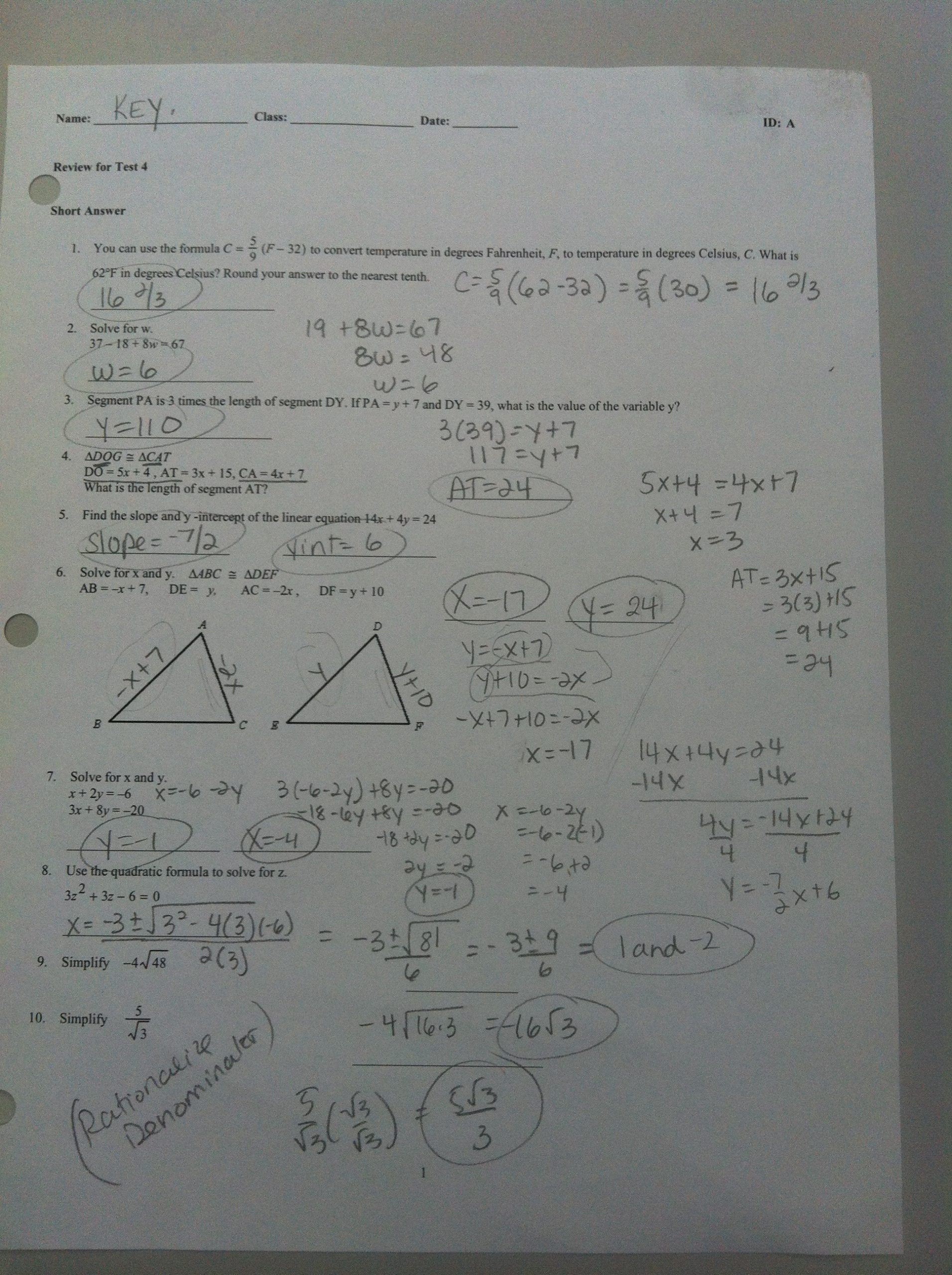 Geometric Proofs Worksheet with Answers Chapter 4 Answers