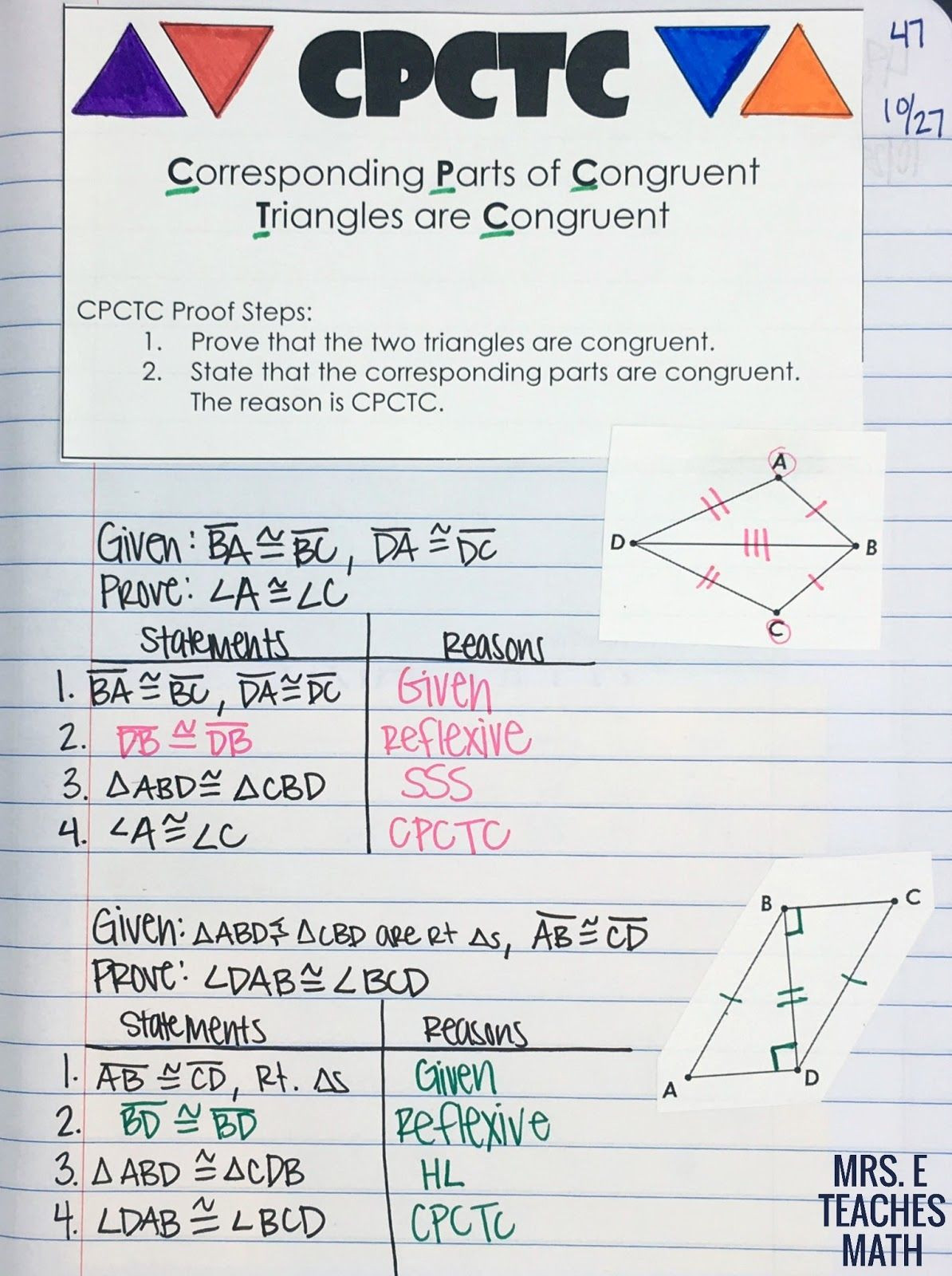 Geometric Proofs Worksheet with Answers Cpctc Inb Page