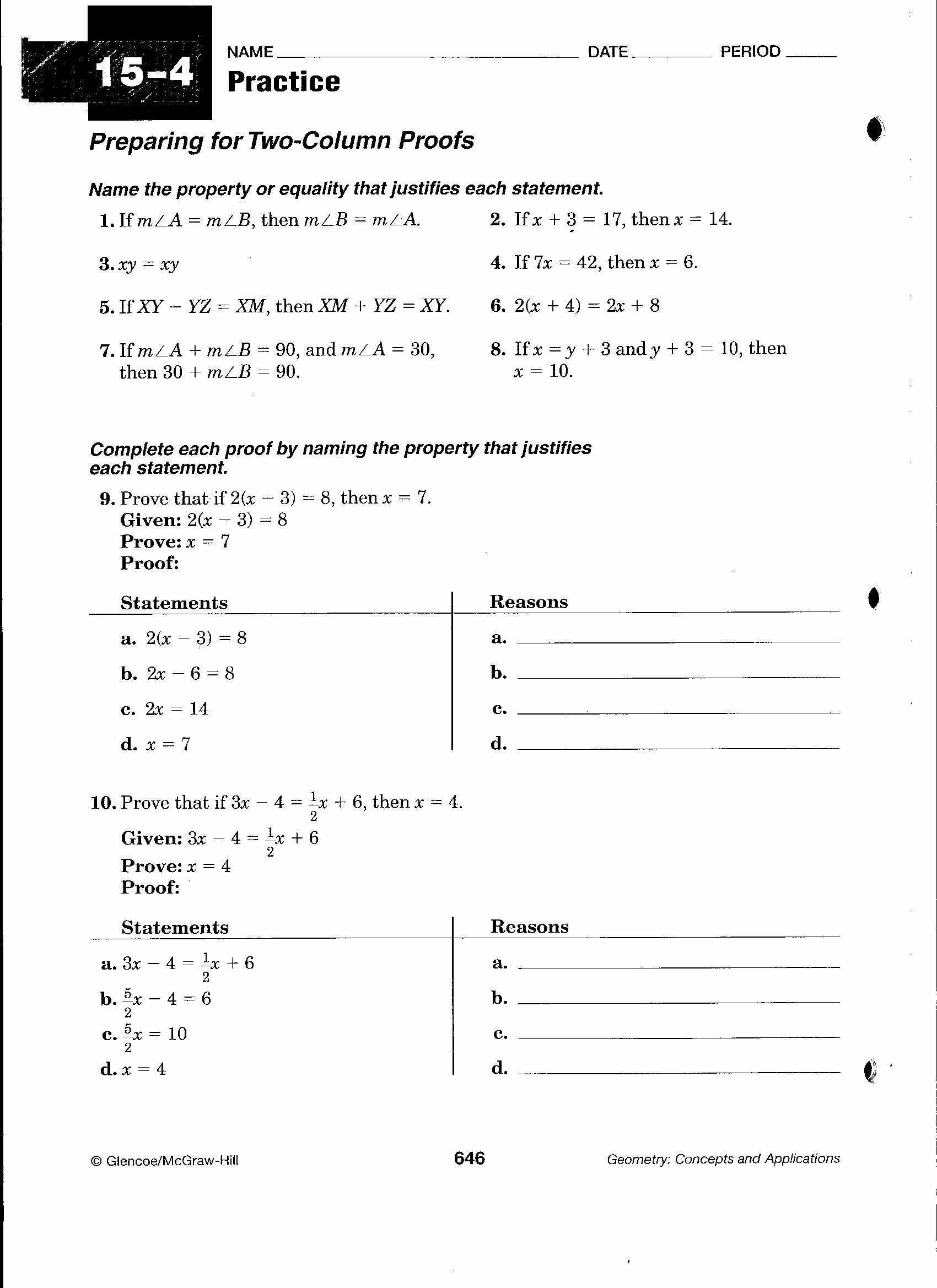 Geometric Proofs Worksheet with Answers Pin On Customize Design Worksheet Line