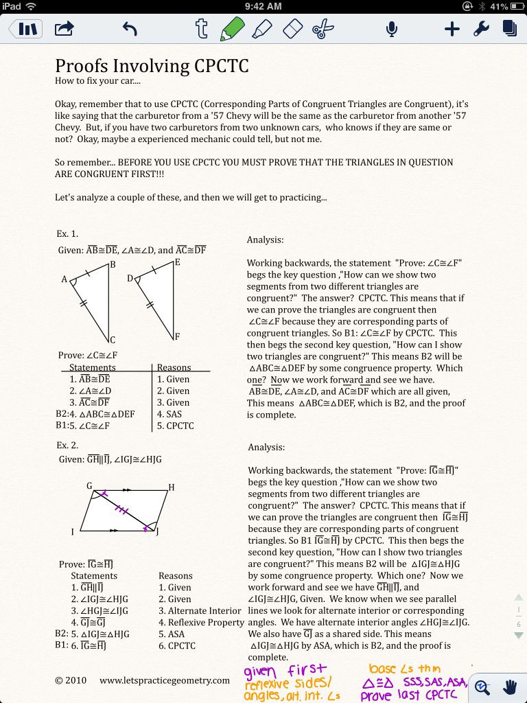 Geometric Proofs Worksheet with Answers Proofs Involving Cpctc Lymoore209