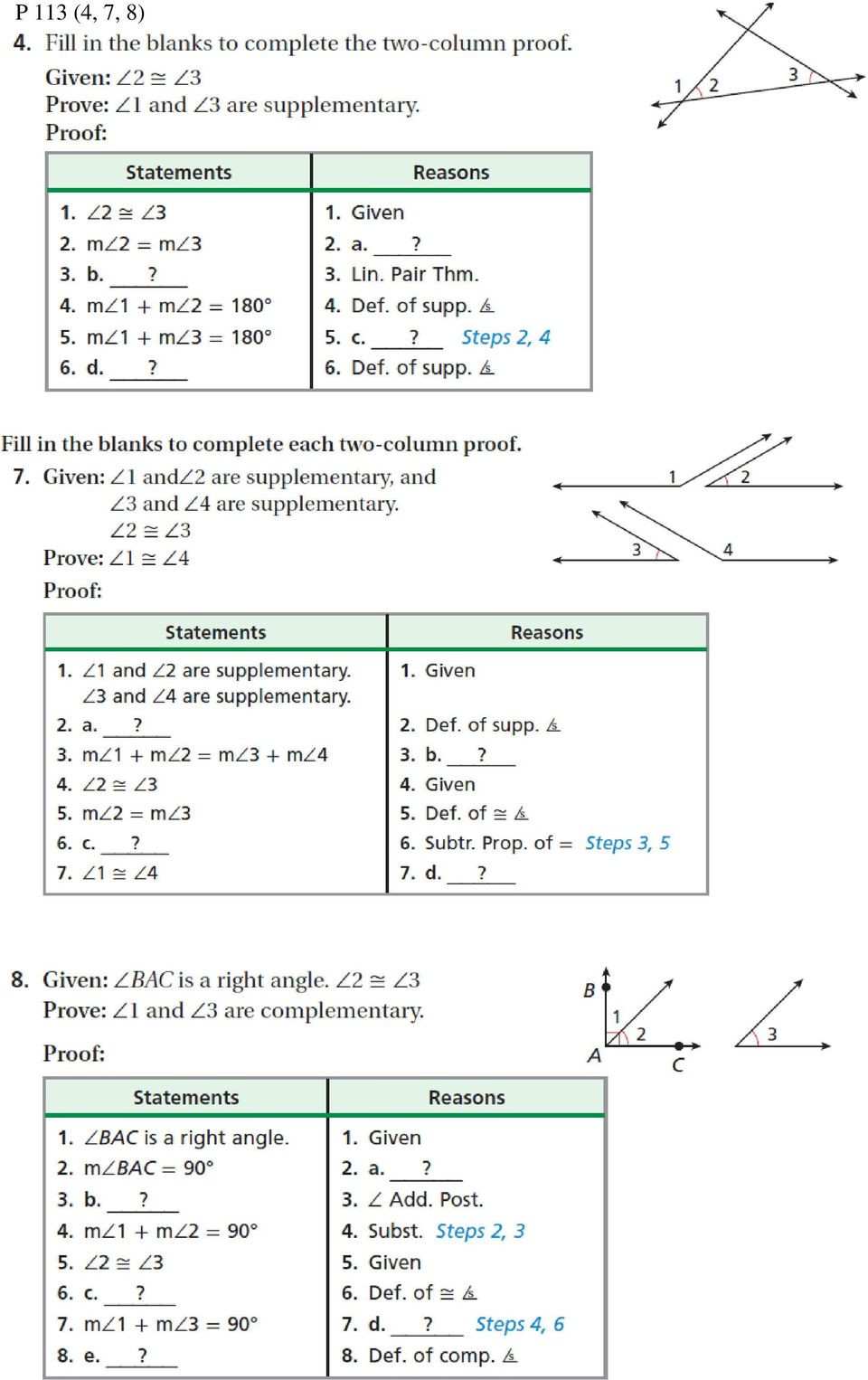 Geometric Proofs Worksheet with Answers theorem Prove Given Dates assignments and Quizzes Subject