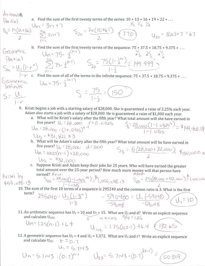 Geometric Sequence Worksheet Answers Arithmetic and Geometric Sequences Worksheet Nidecmege
